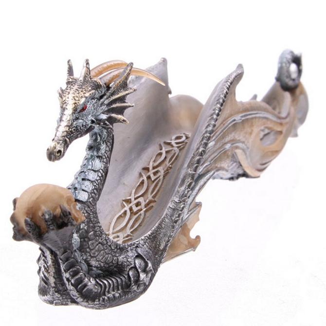 Shimmering  Sea Dragon Holding A Skull  Ashcatcher