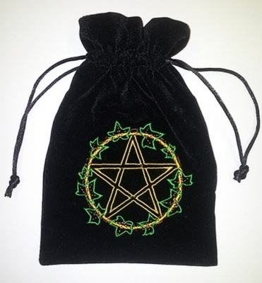 Ivy Leaf  pentagram Tarot Bag Embroidered Velvet