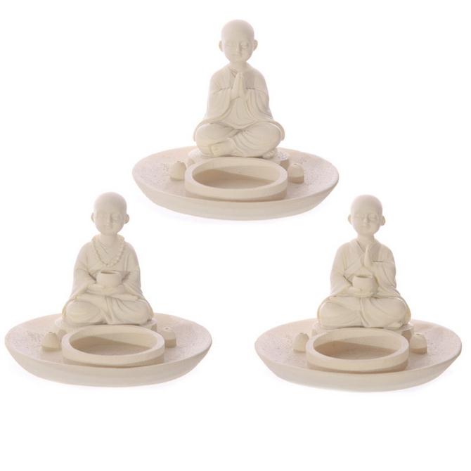 White Monk Round Incense Burner