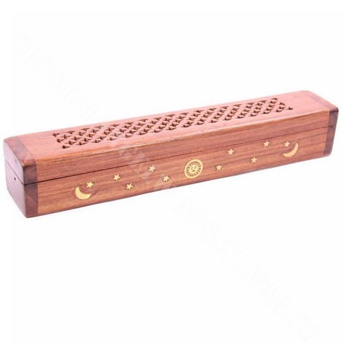Sheesham Wood Incense Box with Brass Inlay  Sun Moon & Stars