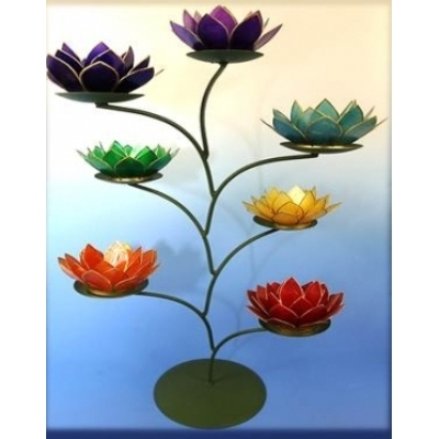 Lotus flower 7 chakra tree tealight candle holder lotus flower 7 chakra tree tealight candle holder enlarge mightylinksfo