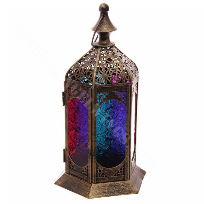 Moroccan Fretwork Panels: Moroccan Style Detailed Fretwork Glass And Metal Lantern