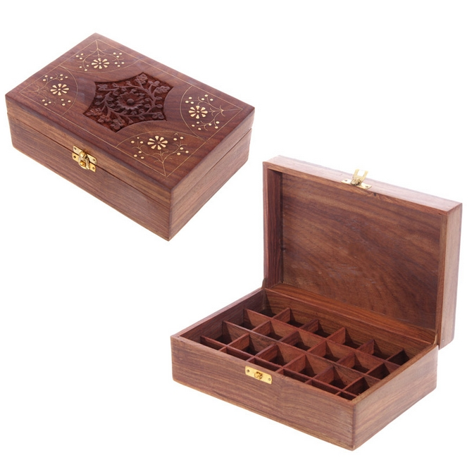 Sheesham Wood Aromatherapy Essential Oil Box Holds 24 Bottles