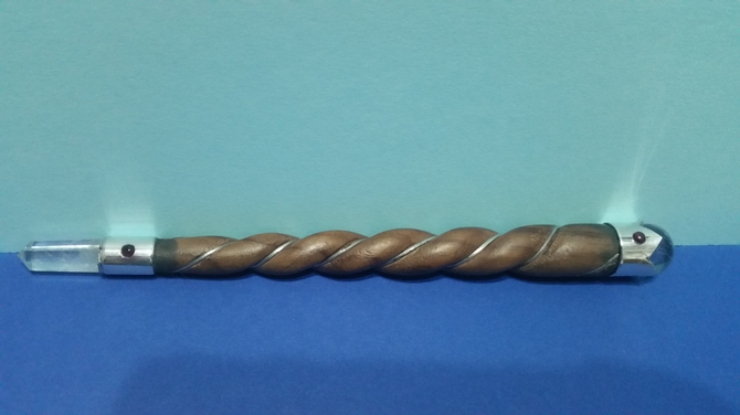 Twisted spiral wood wand with powerful quartz crystal ball for Most powerful wand