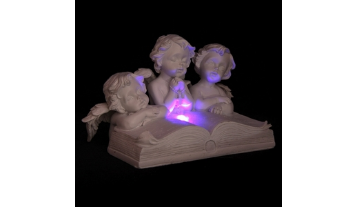 Cherubs Reading Open Book with LED
