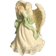 Angel statue - with flowers & colourful accents