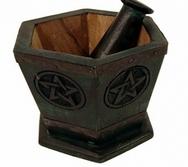 Mortar & Pestle pentagram /pentangle wood