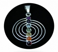 Spiral Chakra pendant 7 mineral stones silver-plated