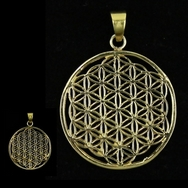 Flower of life pendant brass golden
