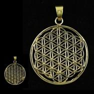 Flower of life pendant brass golden