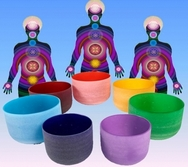 Crystal singing bowls Chakra colors SET + professional cases
