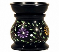 Aromatherapy diffuser lamp Flowers black soapstone oil burner