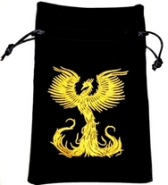 Phoenix Rising From The Flames Tarot Bag Embroidered Velvet