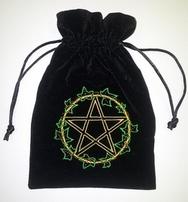 Ivy Leaf  pentagram Tarot Bag Embroidered Velvet
