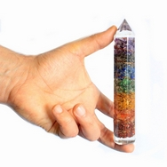 Orgonite Power Wand 15cm Copper & Chakra Gem-chips