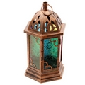 Moroccan Style Metal  Bronze Effect Embossed Glass Lantern
