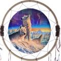 Decorative Northern Lights Wolf 60cm Dreamcatcher