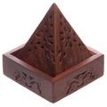 Fretwork Pyramid Sheesham Wooden incense Cone Box Holder