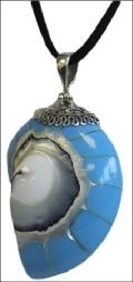 925 Silver Caracola  Shell Pendants  Blue Sky