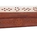 Incense Burning Box With Carved Pentagram / Pentacle Symbol