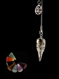 Silver plated Pentacle Pendulum - with 7 Chakra semi-precious stones