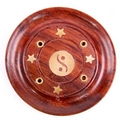 Sheesham Wood Round Ash Catcher - Yin Yang Inlay