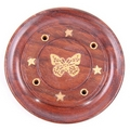 Sheesham Wood Round Ash Catcher - butterfly and stars inlay