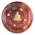 Sheesham Wood Round Ash Catcher -  Buddha Inlay