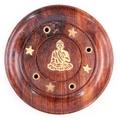 Sheesham Wood Round Ash Catcher -  Buddha Inlay
