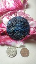 Shattuckite Green Man Carving  / oak king  /celtic god of nature /merlin