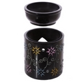 Aromatherapy diffuser lamp colourful Flowers  soapstone oil burner