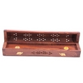 Sheesham Wood Incense Box with Brass Inlay Elephants