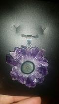 Rare Amethyst  Crystal Flower Stalactite Slice Pendant