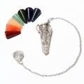 Silver plated Pendulum Cho ku Rei reiki power symbol  - with 7 Chakra stones