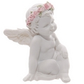 Decorative Rose Cherub Sitting Figurine