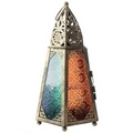 Tapered Glass Moroccan Style Metal Standing Lantern