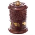 Carved Sheesham Wood Jar with Metal Elephant Inlay