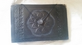Seed Of Life Book Of Shadows Leather Journal with crystal inlay