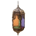 Pointed Glass Moroccan Style Metal Hanging Lantern