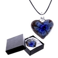 Metallic Glass Heart Necklace with Green, Pink, Blue, Flower and Gift Box